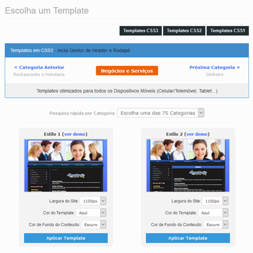 Escolher template for O and m manual template